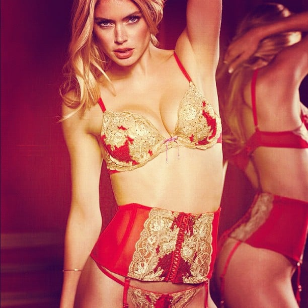Doutzen Kroes showed off some of the latest Victoria's Secret collection. Source: Instagram user doutzenkroes1