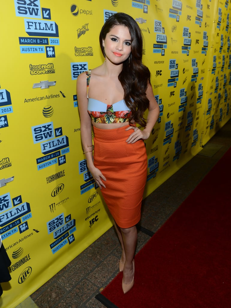 Selena Gomez wore a bright ensemble.