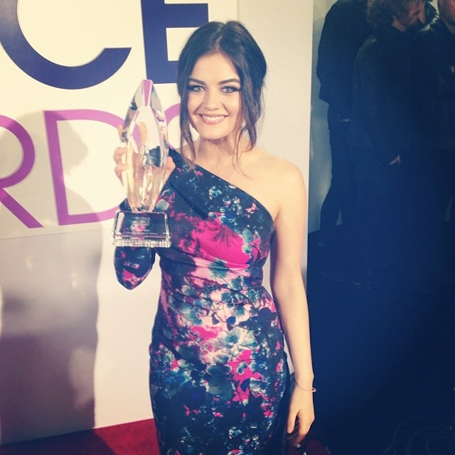 Lucy Hale thanked fans for their support after accepting one of the night's first awards. Source: Instagram user lucyhale