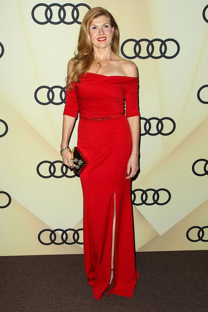 """On what the process of picking finishes and fabrics is really like: """"Material direction is instinctive, and I like to make sure it reflects the inspiration behind the collection. One of the most challenging and fun parts of the design process is creating unexpected combinations of materials and colors."""" Pictured here, Connie Britton carried the designer's gold Meteor clutch (available for preorder) to Audi's Golden Globes kickoff party."""