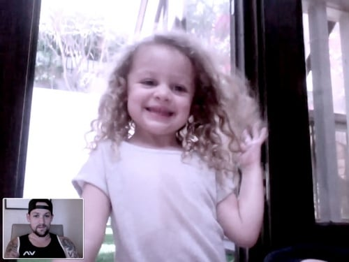Joel Madden communicates long distance with Harlow Madden.