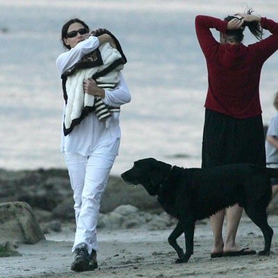 Minnie Driver and Henry At the Beach in Malibu