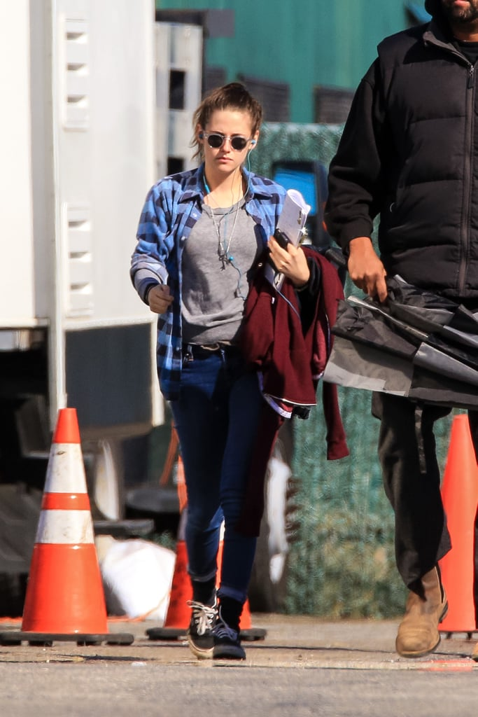 Kristen listened to music on the set of Still Alice on Tuesday.