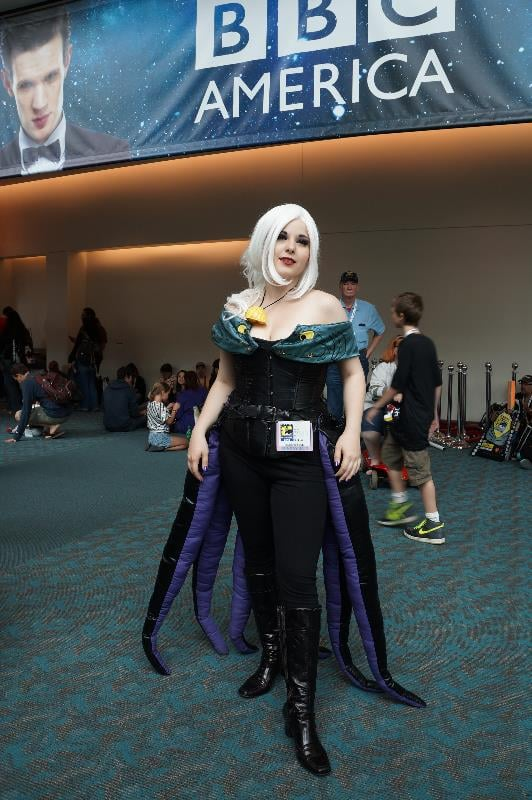 The tentacle train of this Ursula cosplayer is fabulous.