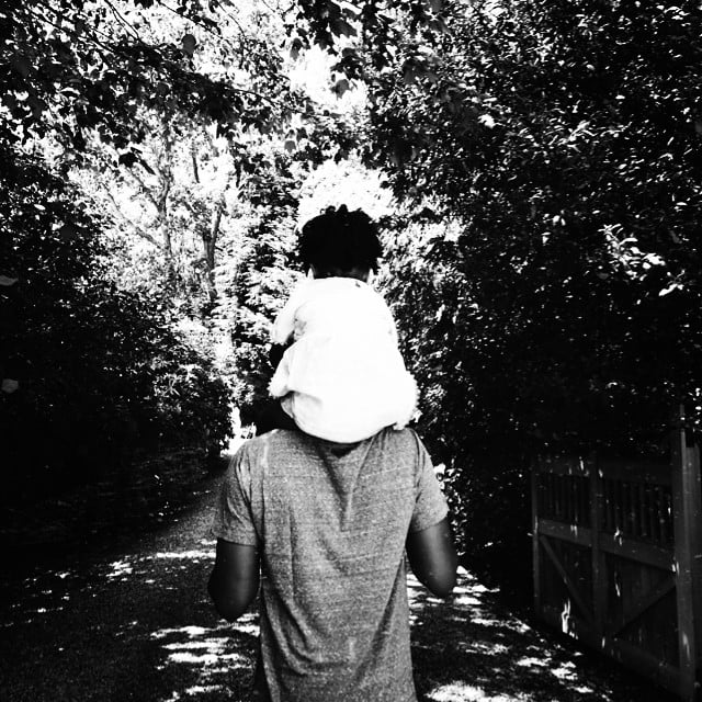 """Beyoncé shared a snapshot of Blue hitching a ride on Jay Z's shoulders, simply saying, """"Happy Happy Father's Day."""" Source: Instagram user beyonce"""