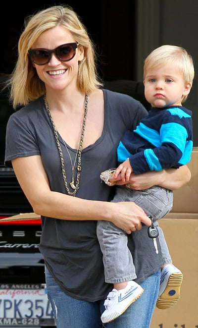 Reese Witherspoon grinned while holding her son, Tennessee Toth, on Wednesday in LA.