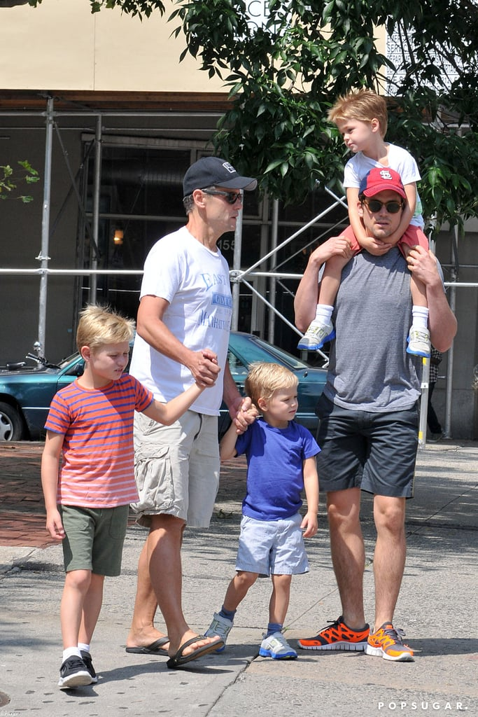 Matt Bomer and his partner, Simon Halls, took their three sons, Henry, Kit, and Walker, out for a stroll in NYC.