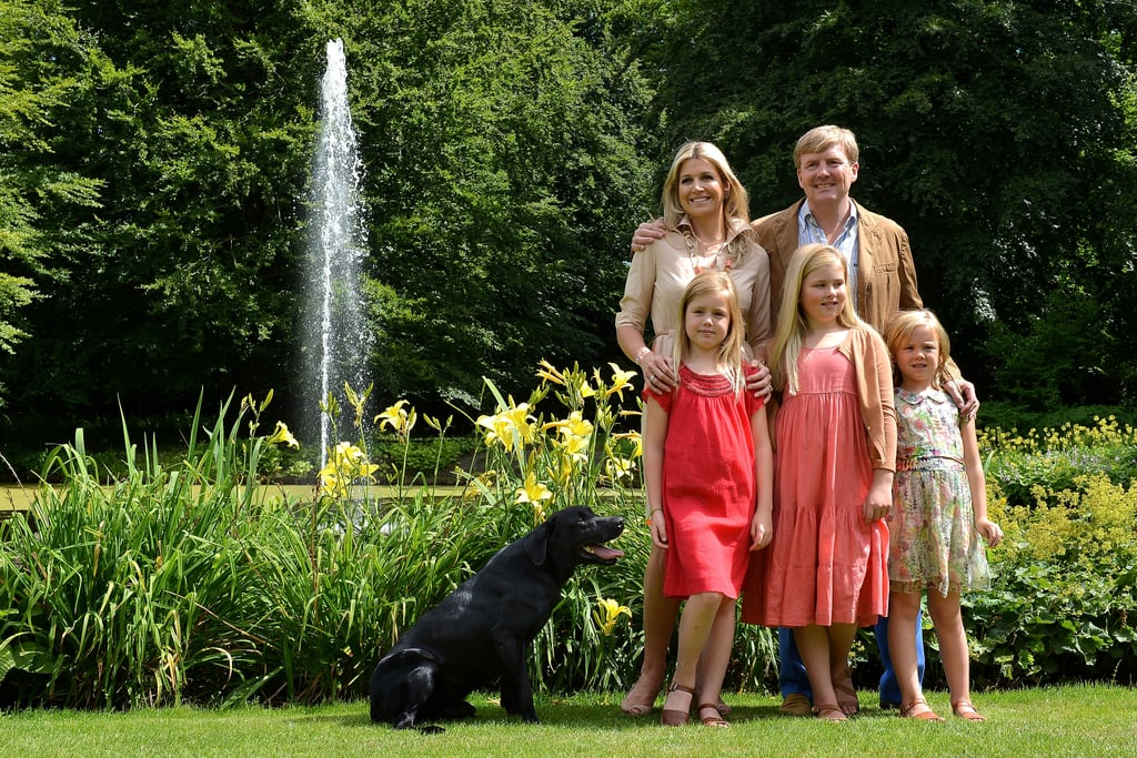 The Dutch royal family posed beside a fountain for the annual Summer photocall.