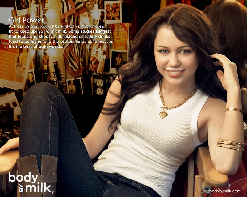 Miley Cyrus sported a milk mustache during her Hannah Montana days.