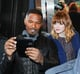 Jamie Foxx took a selfie with Emma Stone in NYC in April 2014.