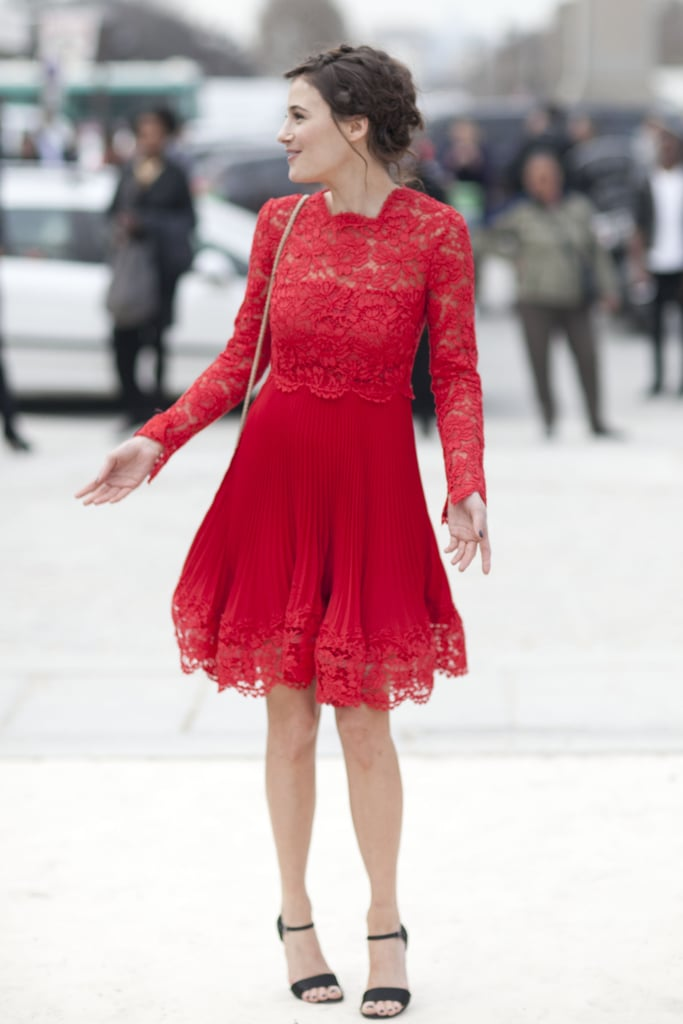 The prettiest fiery-red lace dress with the romantic hair to match.