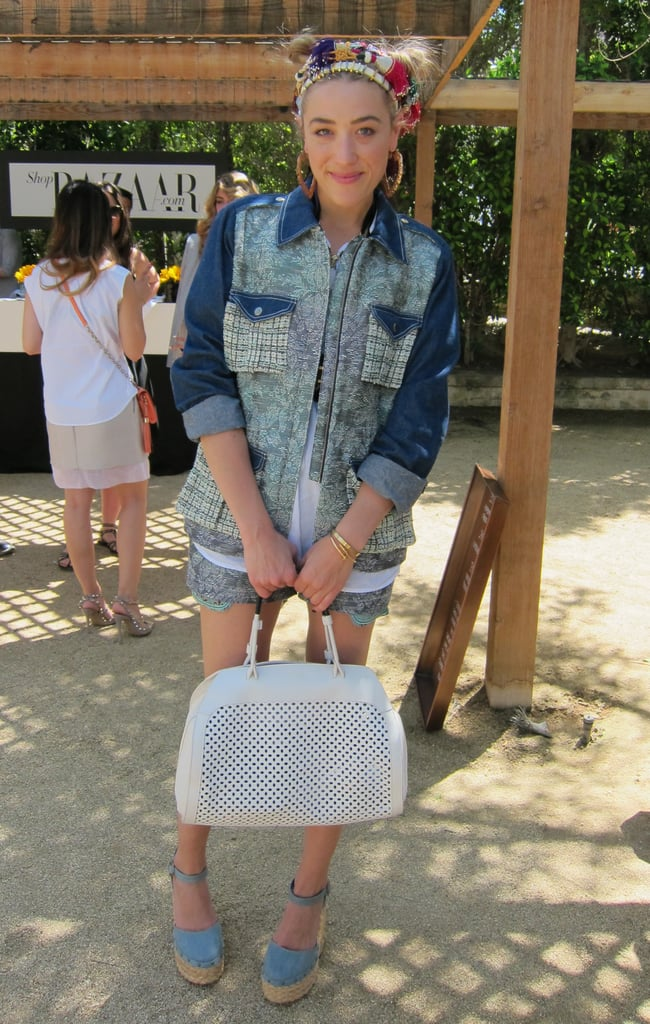 DJ Mia Moretti struck a pose in denim separates, sweet wedge espadrilles, and a ladylike white satchel. Source: Chi Diem Chau