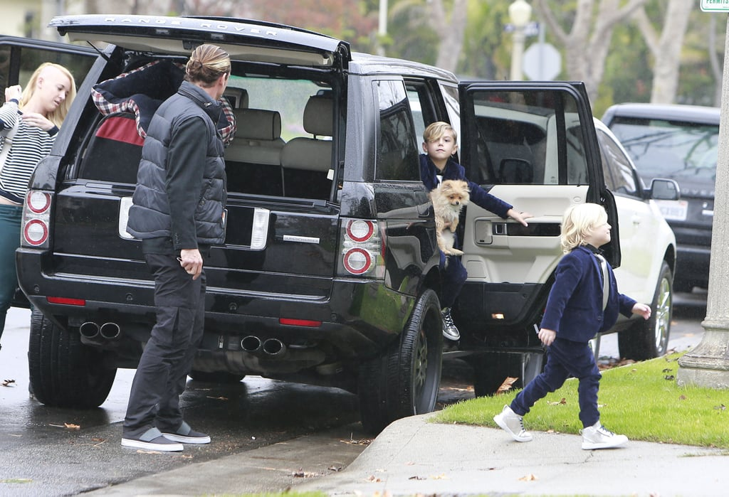 Gavin Rossdale and his children followed Gwen into the friend's home.