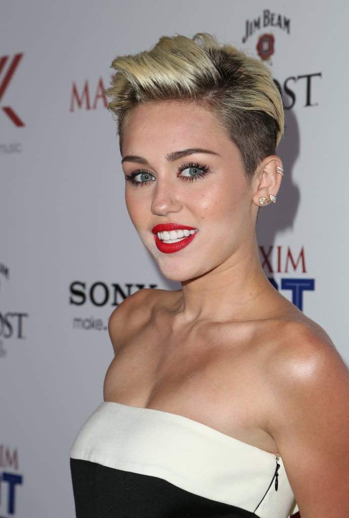 Miley Cyrus wore a Valentino jumpsuit.