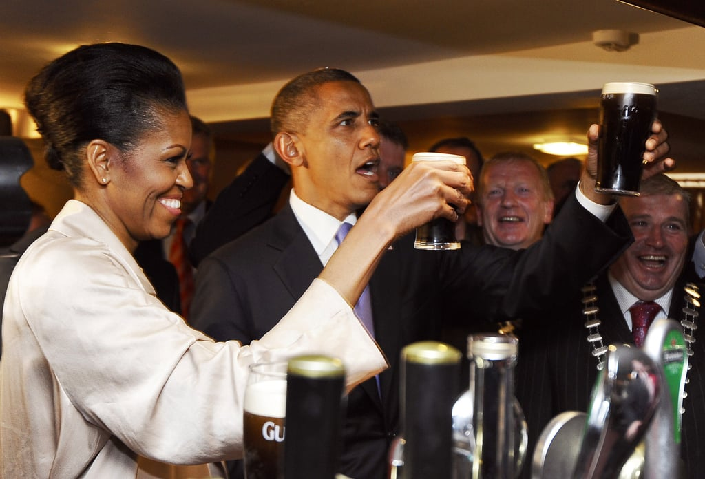The Obamas cheered with their Irish hosts.