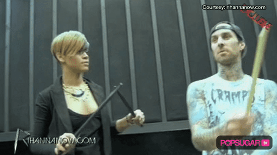 Video of Rihanna Playing the Drums With Travis Barker