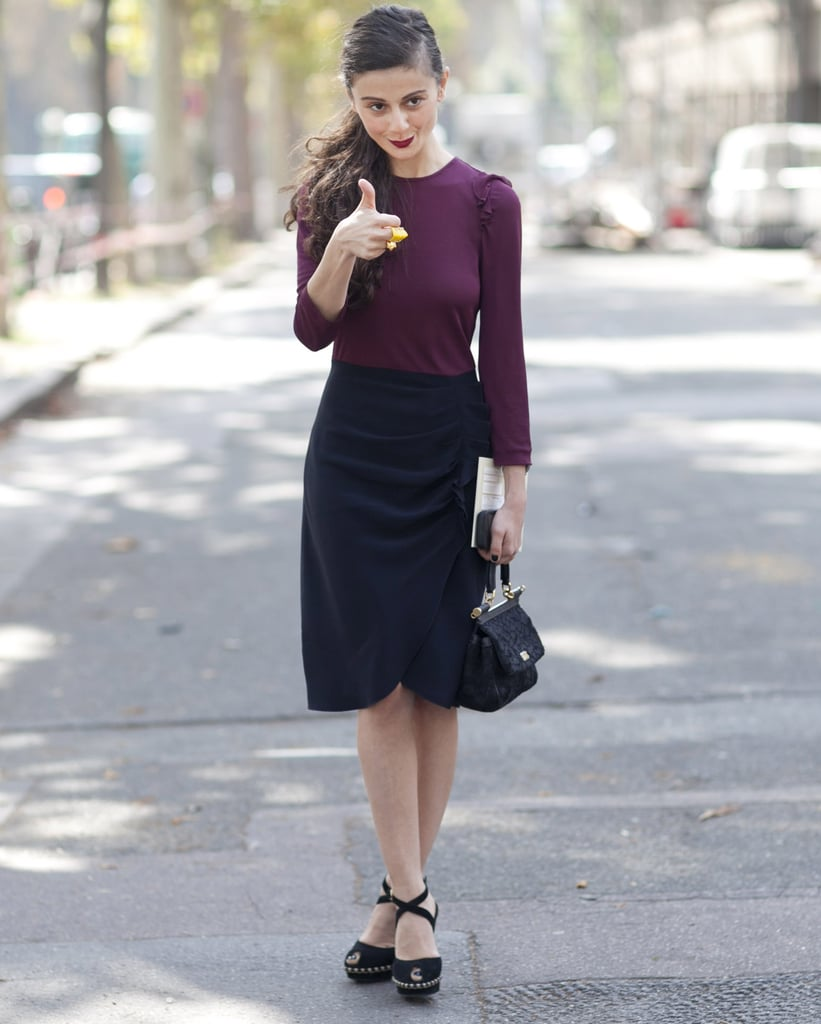 Natalia Alaverdian gives a thumbs up for coordinating pieces in deep, Fall-ready hues.