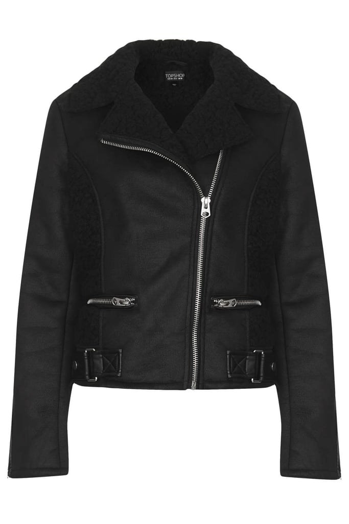 Searching for something more wallet-friendly? You won't do better than Topshop's easy-to-wear noir zip-up ($130).