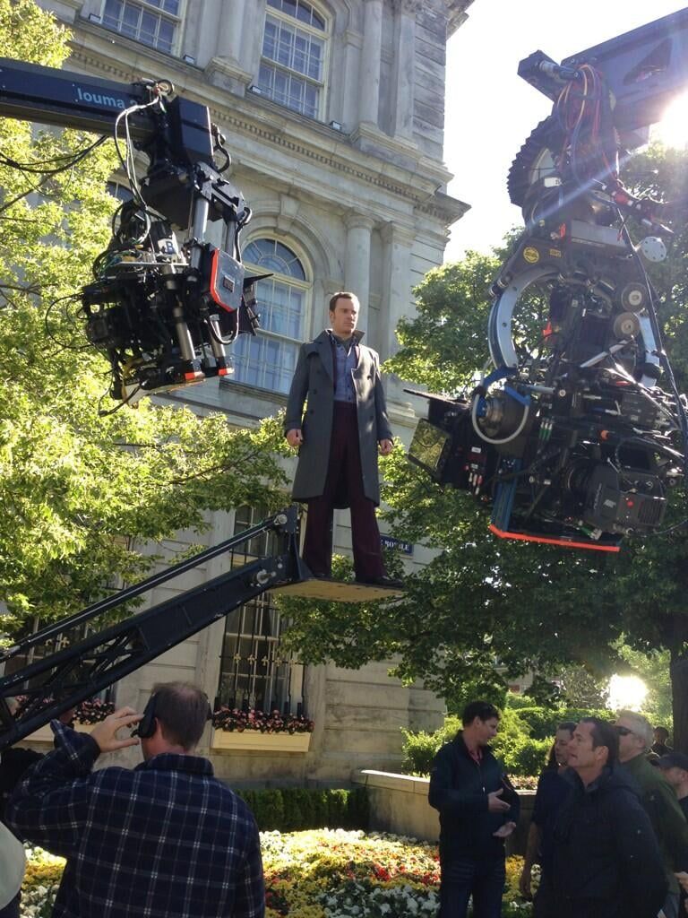 Michael Fassbender got some air while filming X-Men: Days of Future Past. Source: Twitter user BryanSinger