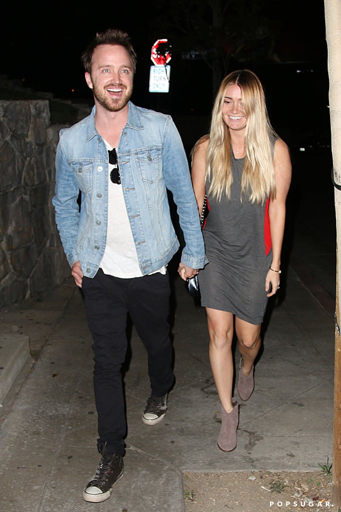 On Wednesday, Aaron Paul and Lauren Parsekian had a date night at Chateau Marmont in LA.