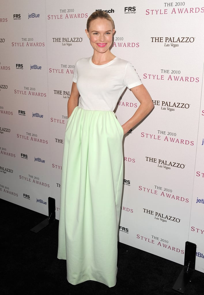 Kate Bosworth surprised in a two-toned Jil Sander maxi.