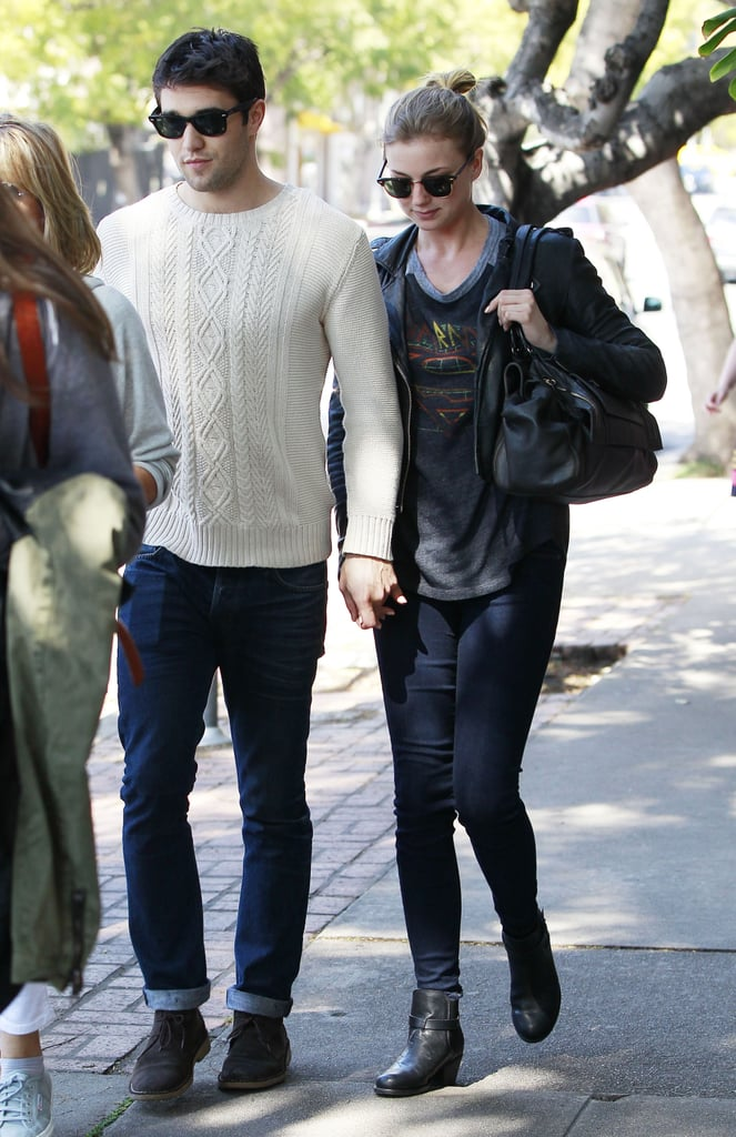 Emily VanCamp and Josh Bowman kept close on their lunch date in LA.