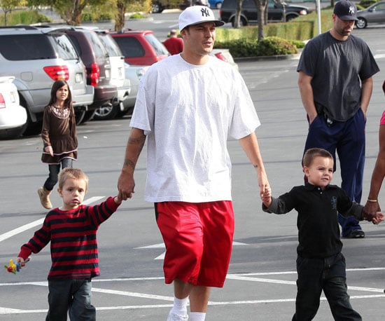 Slide Photo of Kevin Federline with Jayden James and Sean Preston Going to Movies