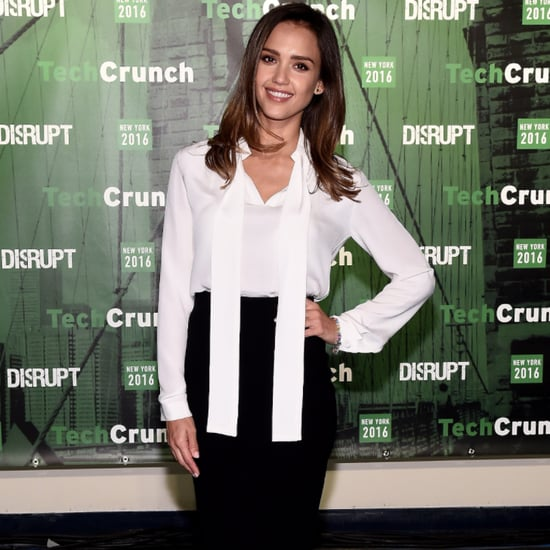 Jessica Alba Wears White Blouse and Pencil Skirt May 2016