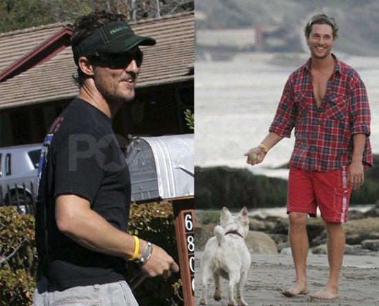 Matthew McConaughey in LA With His Dog
