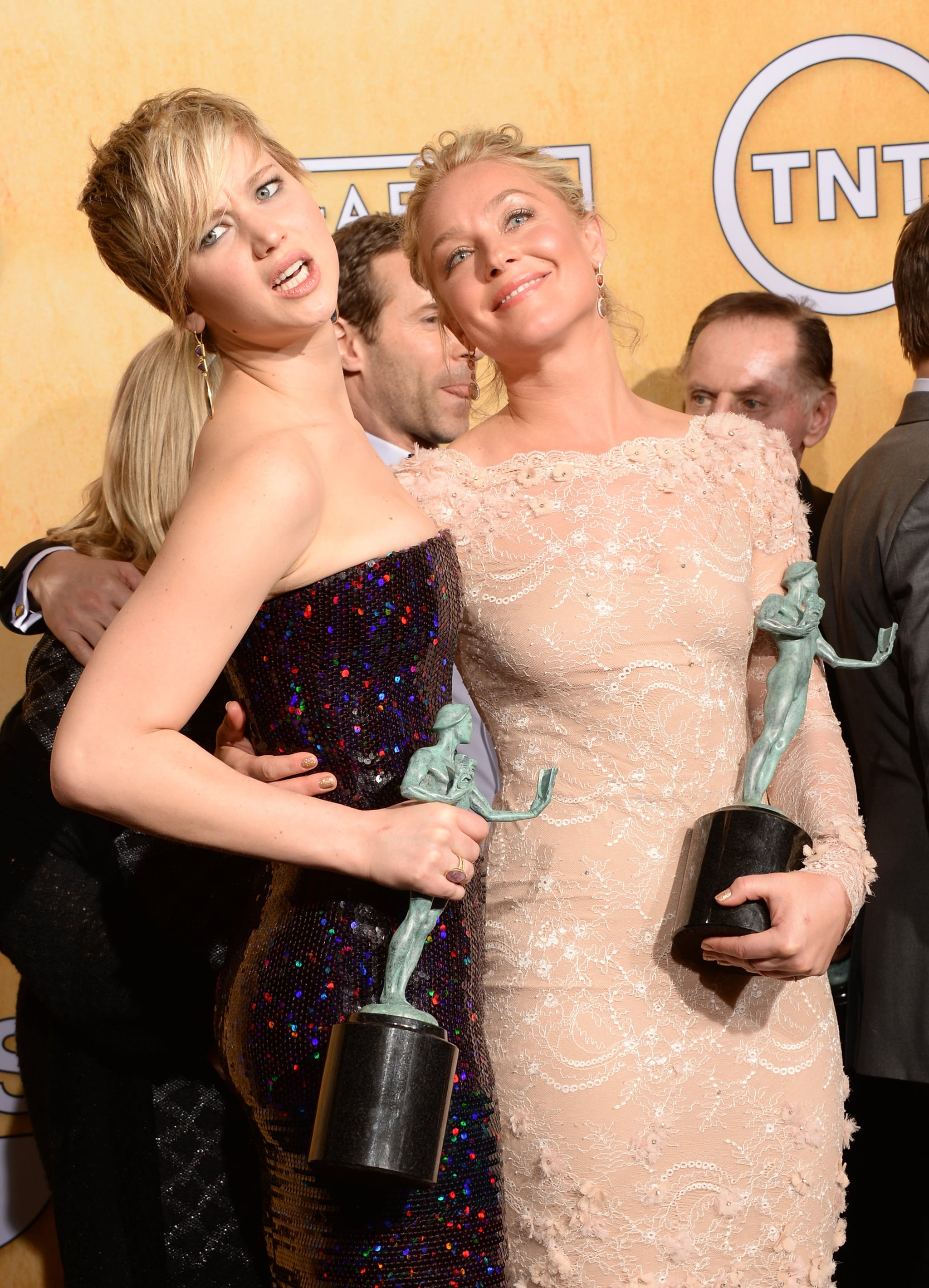 Jennifer Lawrence and Elisabeth Rohm showed off their statues at the SAG Awards.