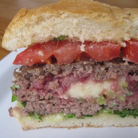 Scallion-and-Brie-Stuffed Burgers