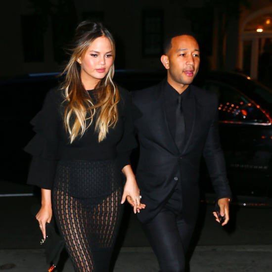 Chrissy Teigen Wearing a Black See-Through Skirt May 2016