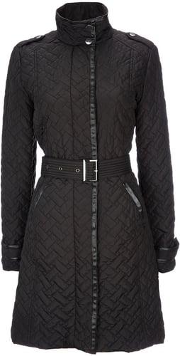 Black Padded Mid Length Coat