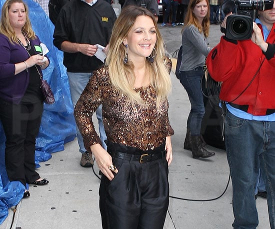 Slide Picture of Drew Barrymore Arriving at David Letterman in New York