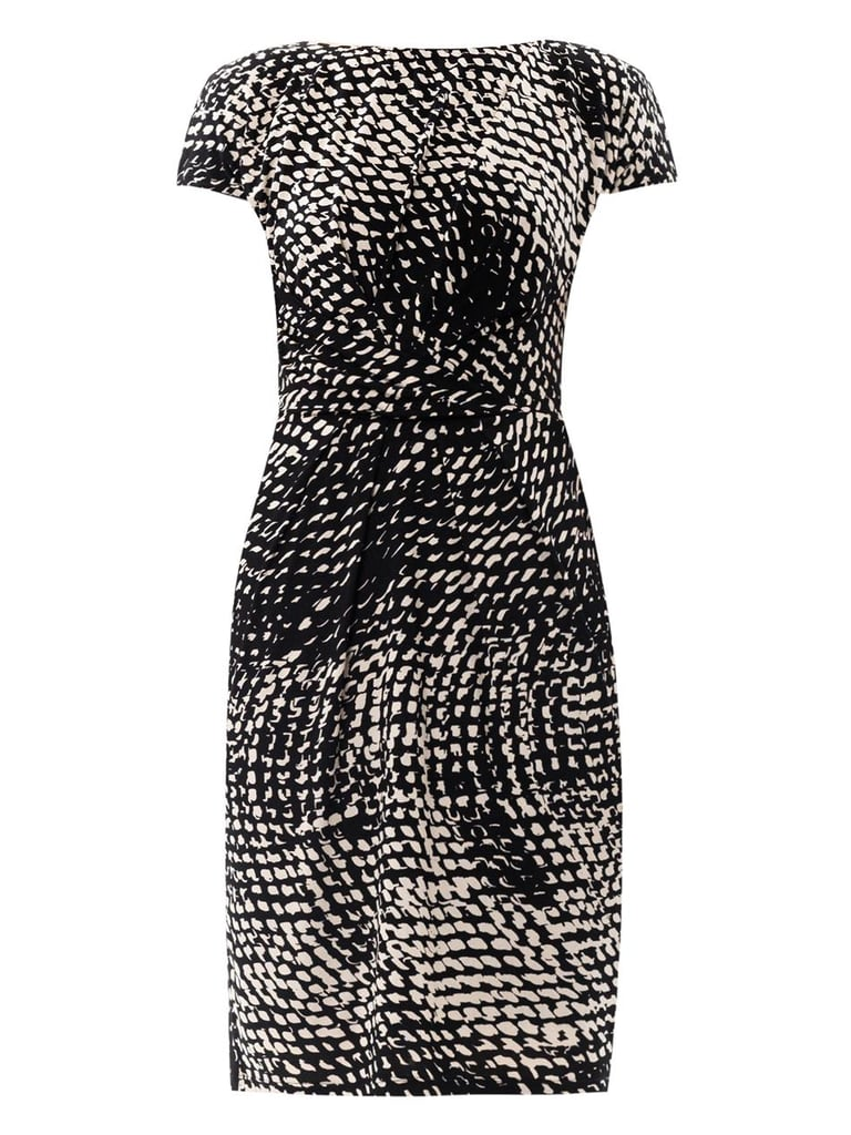 The black-and-white print of this Max Mara dress ($614), with the white spots concentrated mostly on the top and bottom, will prove form-friendly, too, as Kate regains her famous figure.