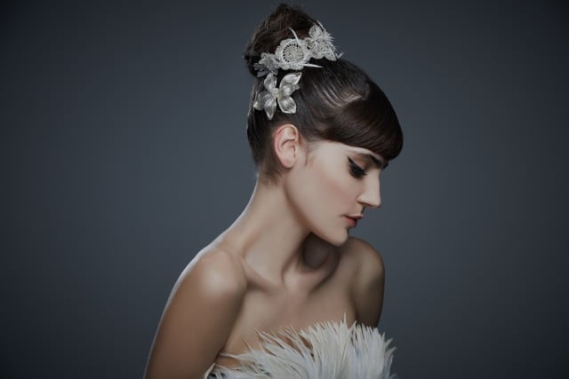 Feathered Crochet Headstrap ($630) and Mesh Midnight Lily Snap Clip ($98)