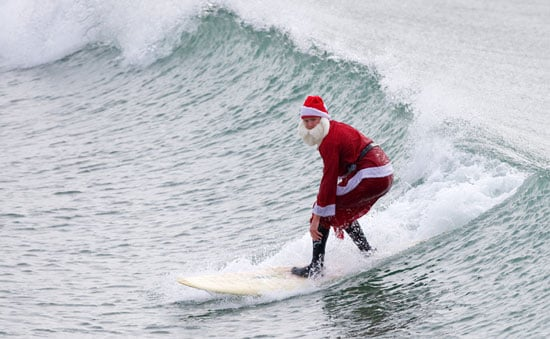 Santa Claus Surfing, Golfing, and Biking