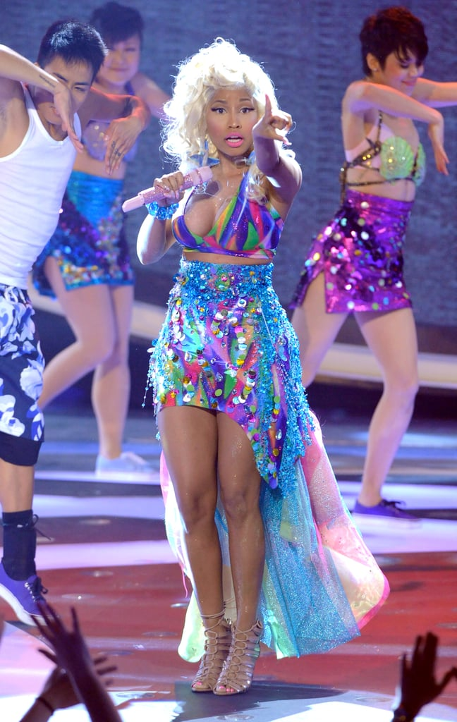 Nicki Minaj wore a colorful dress for her performance on American Idol.