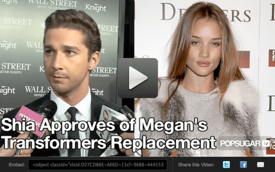 Video: Shia LaBeouf Approves of Megan Fox's Replacement