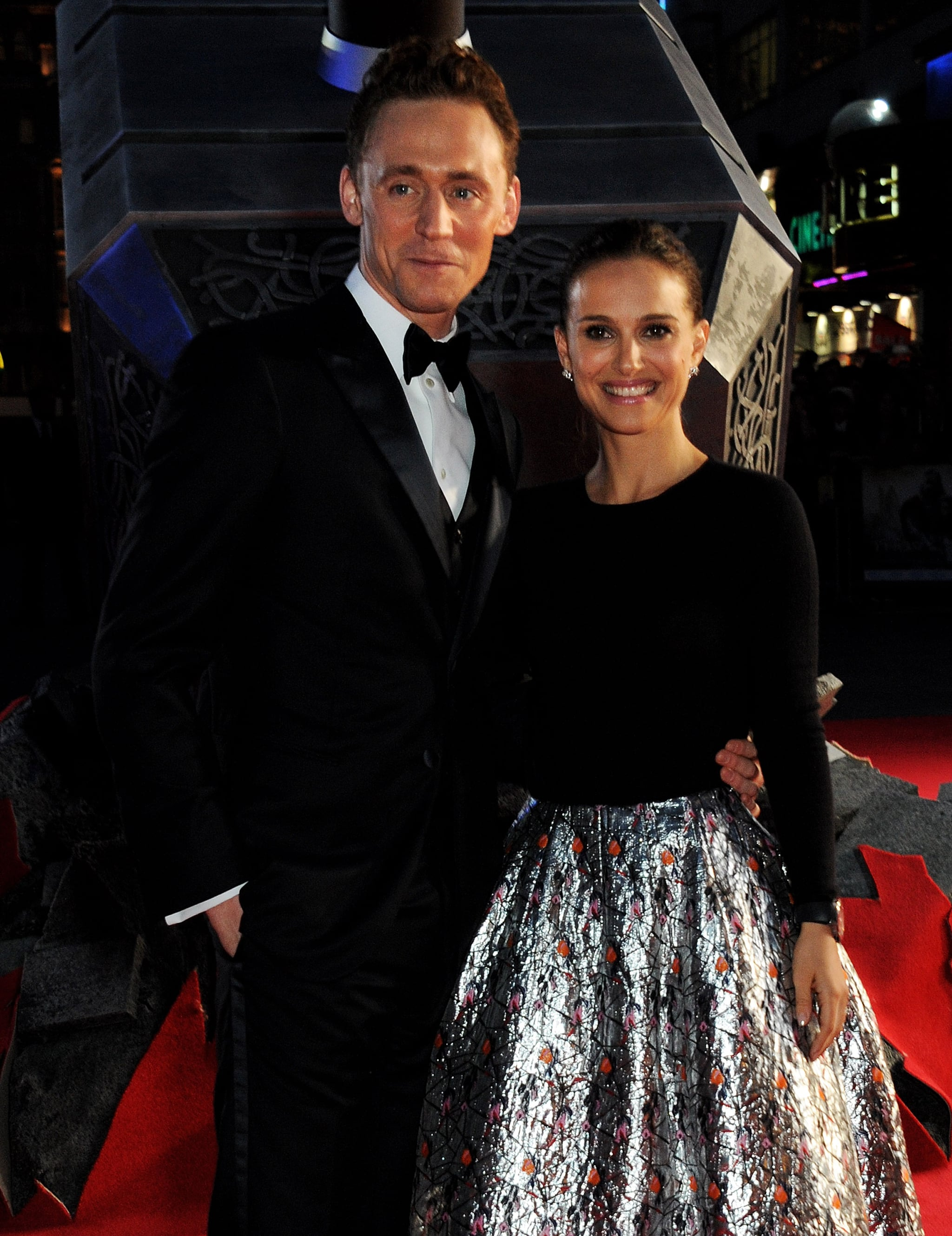 Tom Hiddleston and Natalie Portman saw each other on the red carpet at the Thor: The Dark World world premiere in London on Tuesday.