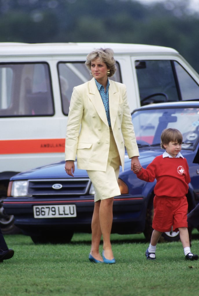 In May 1987, Princess Diana walked hand in hand with Prince William at a polo match in Windsor.
