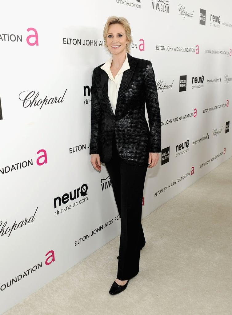 Jane Lynch arrived at Elton John's Oscar party in LA.