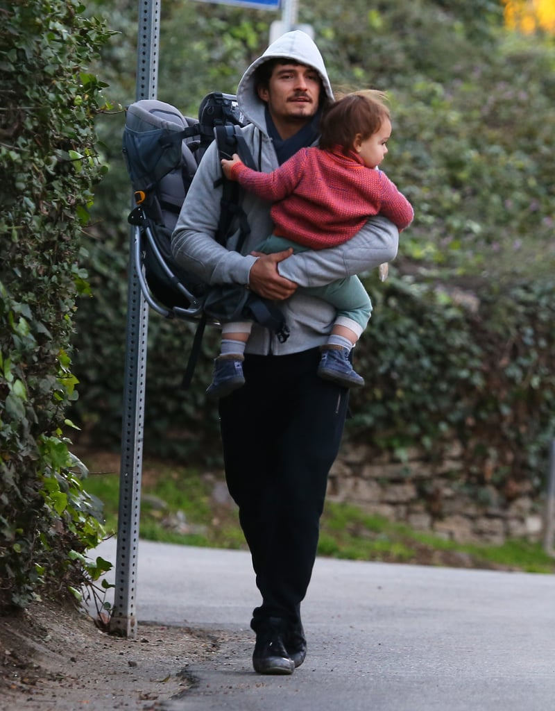 Orlando Bloom took Flynn out for a stroll in January 2013.