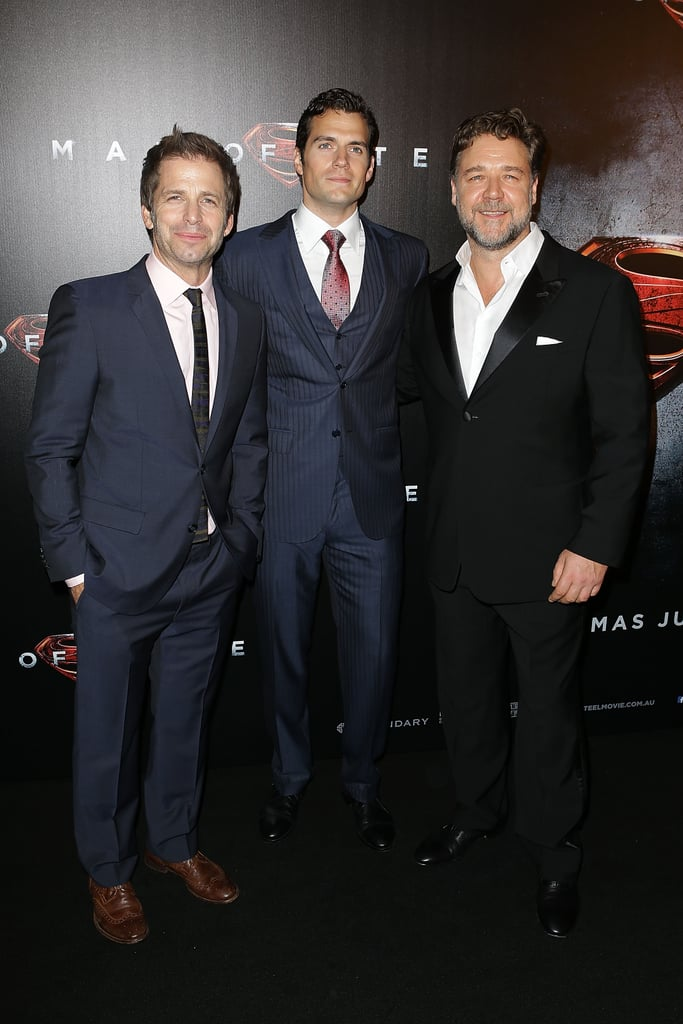 Zack Snyder, Henry Cavill and Russell Crowe