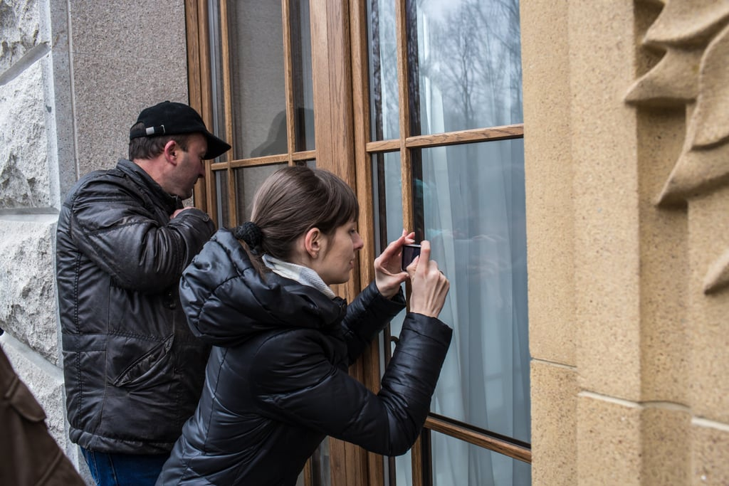 Visitors snapped pictures of the Mezhyhirya estate after it was abandoned by security.