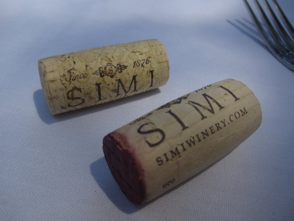 Luke also taught us about different corks. The bottom cork is more expensive because it's cut from one piece of bark. The top cork is cheaper because it's made of fragmented and leftover pieces of bark.