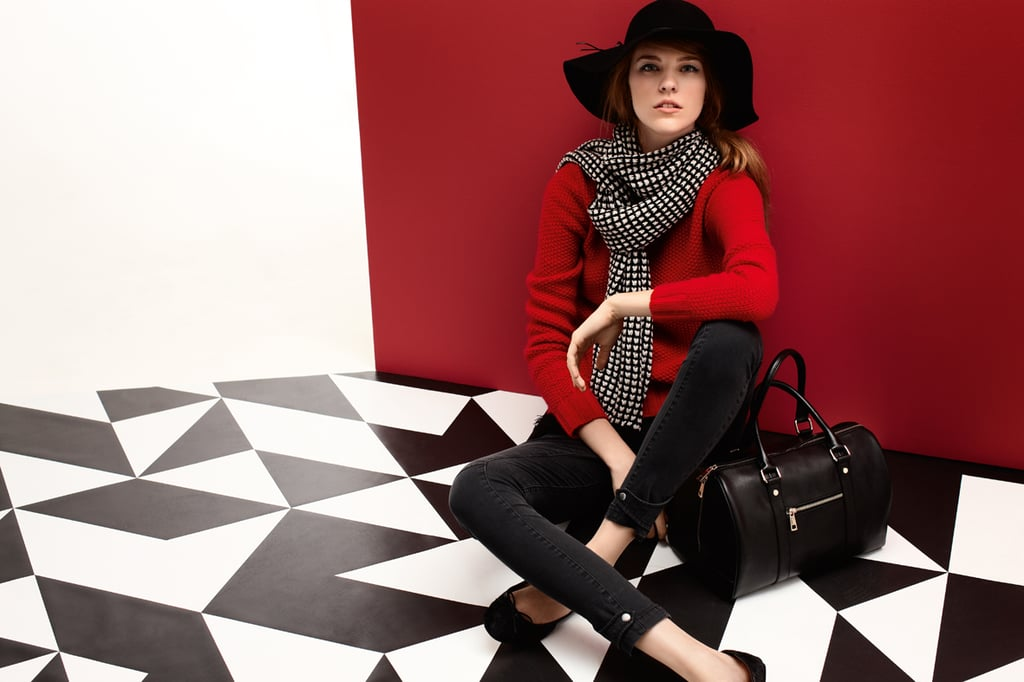 Hat $79, Crew Knit $179, Panel Skinny Pant $149, Fringe Scarf $59, Petite Travel Bag $199 and Ballerina Flats $129.