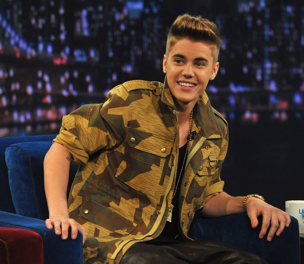 Justin Bieber wore a camouflage jacket for a stop on Late Night With Jimmy Fallon.