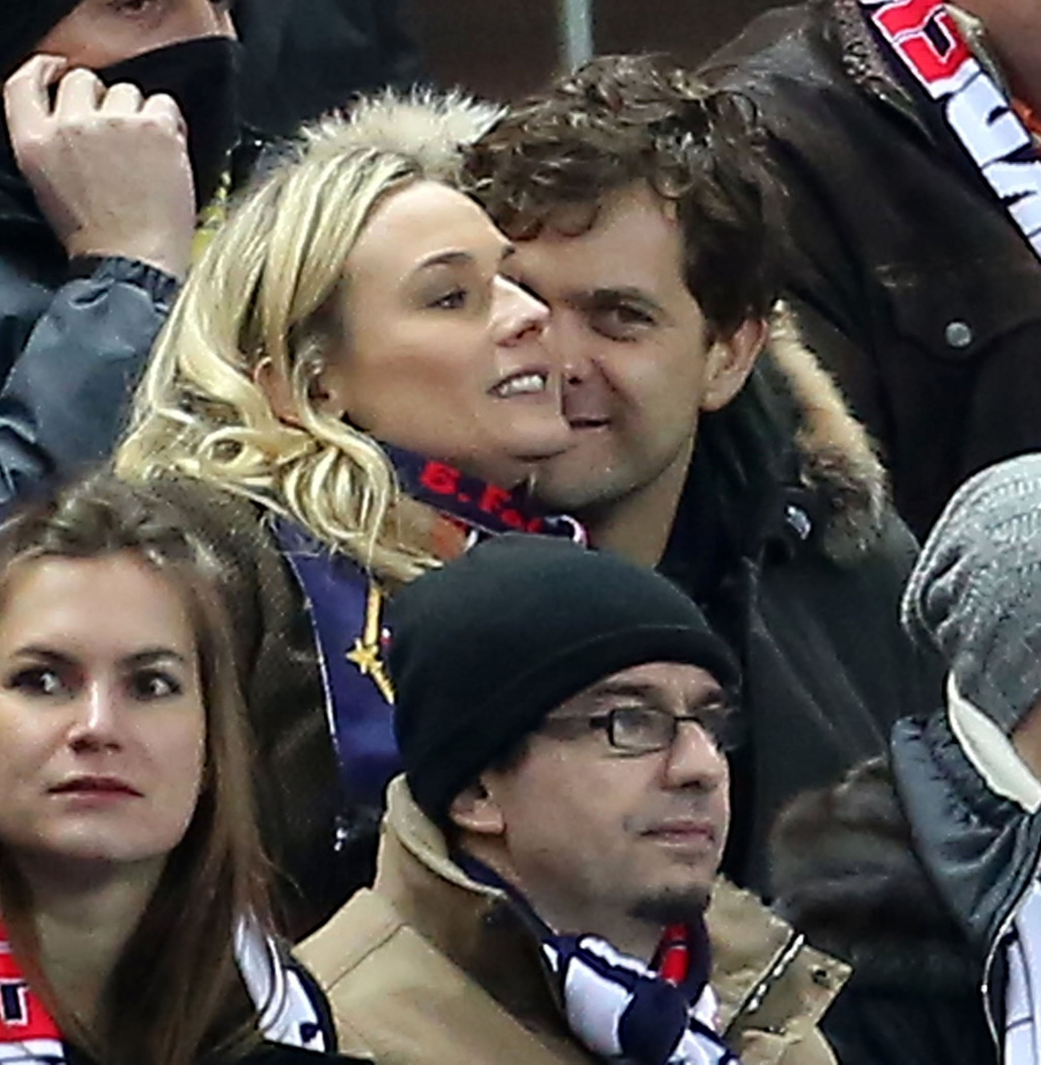 Joshua Jackson and Diane Kruger cuddled in the stands at a soccer game in Paris.