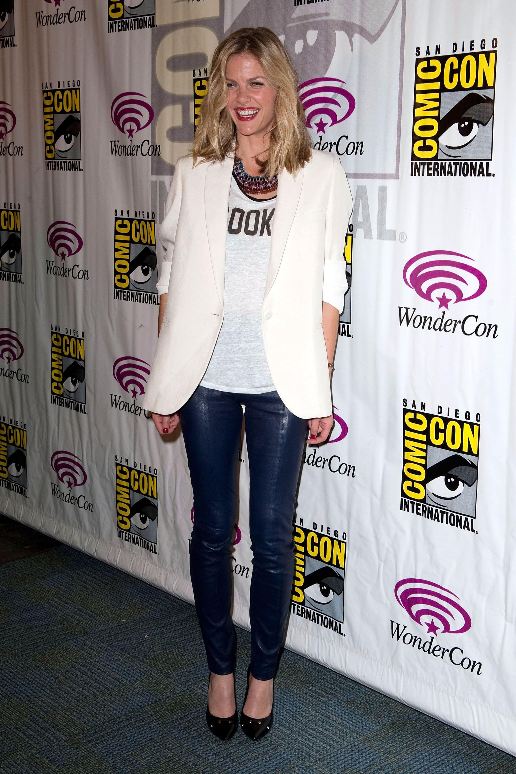 Brooklyn Decker kicked off the promotional tour in a crisp white blazer, leather pants, and statement jewels at Comic-Con in March.